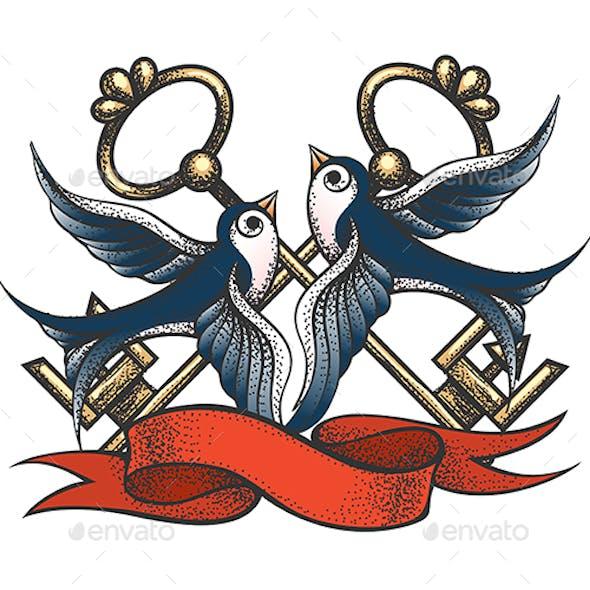 Swallows with Keys and Ribbon Tattoo Illustration