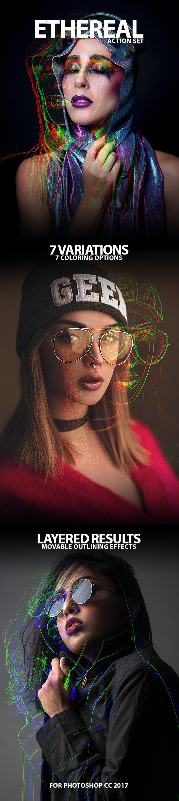 Ethereal Colorful Ghostly Outlines Photo Action Effect - Photo Effects Actions