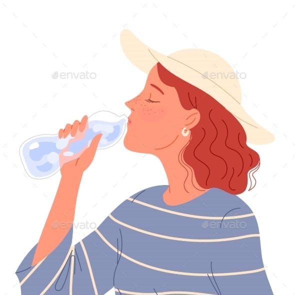 Redheaded Girl with Freckles and a Hat Drinking