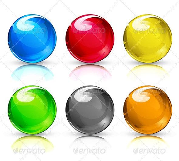 Glass marbles/button spheres  - Decorative Vectors