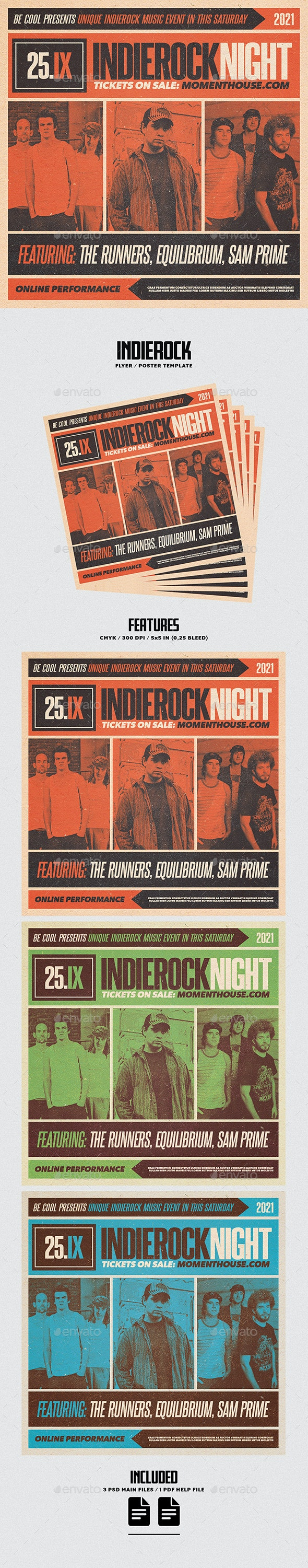 Indierock Flyer/Poster - Concerts Events