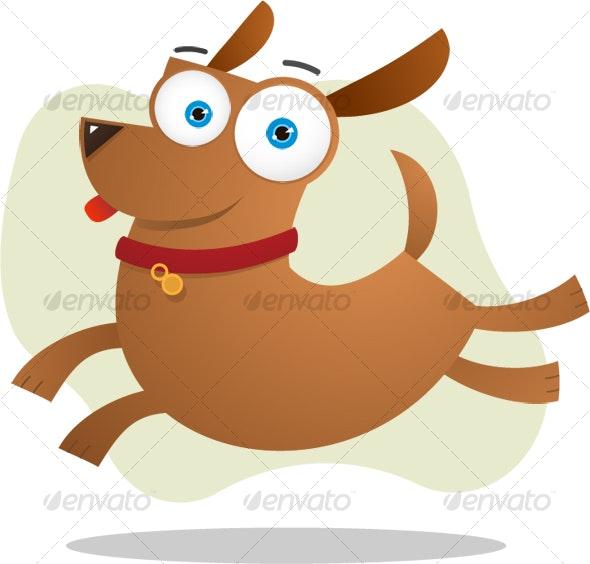 Brown dog jumping - Animals Illustrations