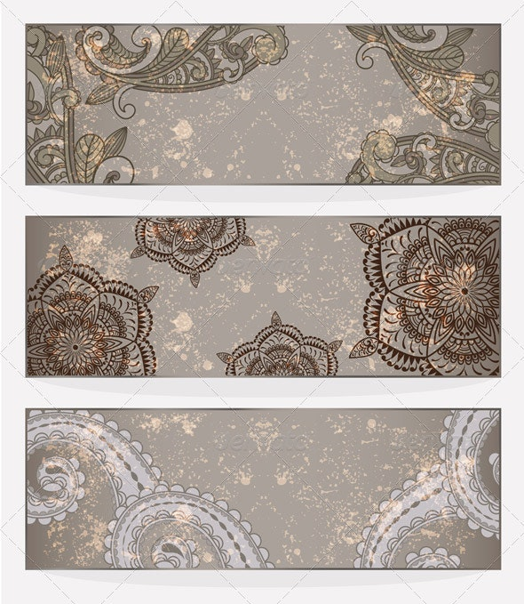 3 Vector Grungy Banners - Backgrounds Decorative