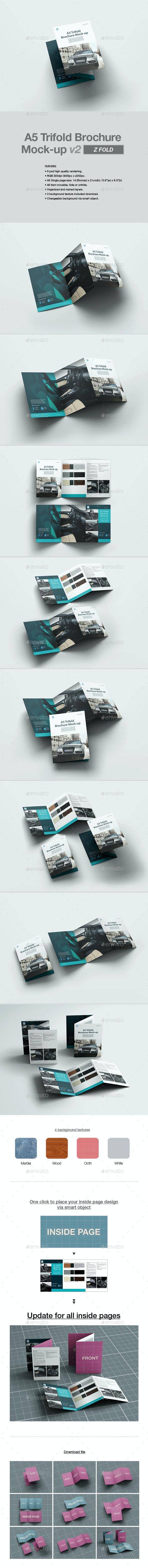 A5 Trifold Brochure Mock-up v2 - Brochures Print