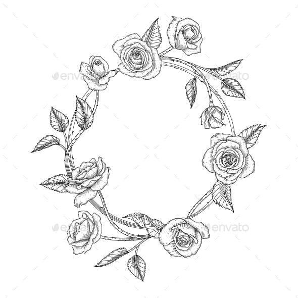 Hand drawn rose floral illustration
