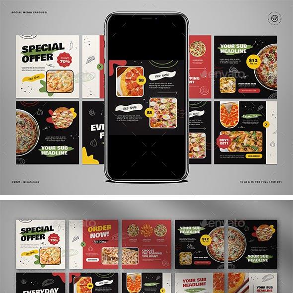 Food Instagram Carousel Pizza Theme