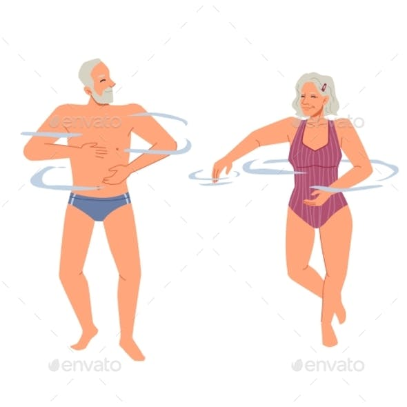 Happy Grandparents Swimming in Pool Water Isolated