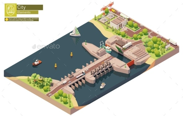 Vector Isometric Tidal Power Plant - Man-made Objects Objects