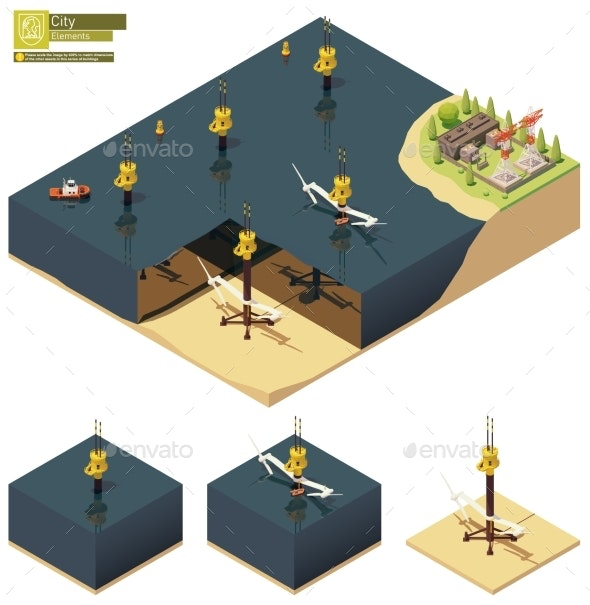 Vector Isometric Offshore Tidal Power Plant - Man-made Objects Objects