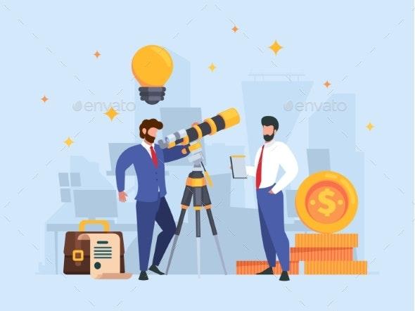 Businessman Watching Telescope - People Characters