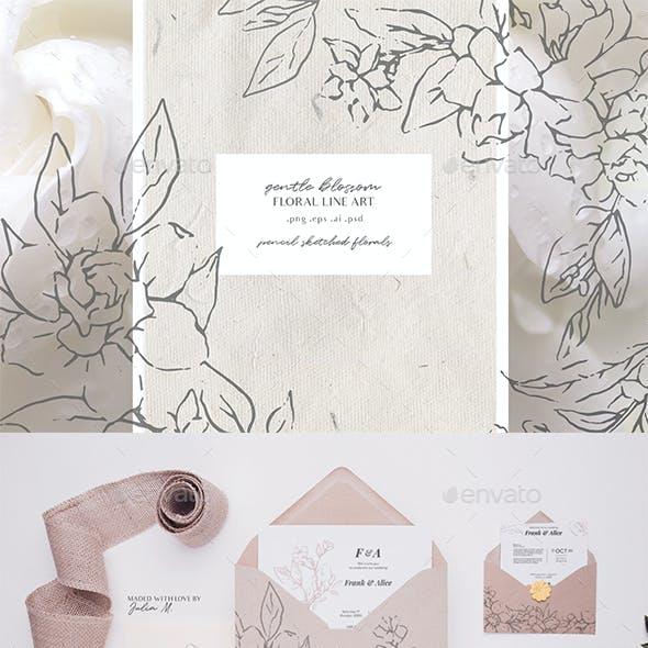 Gardenia Flowers Pencil Sketches - Line Art