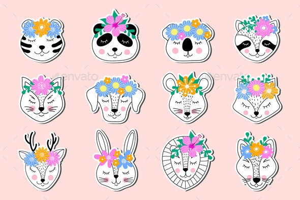 Stickers of Hand Drawn Animals - Flowers & Plants Nature