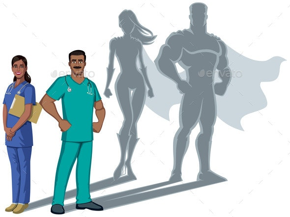 Indian Nurse Superheroes Shadow - Health/Medicine Conceptual