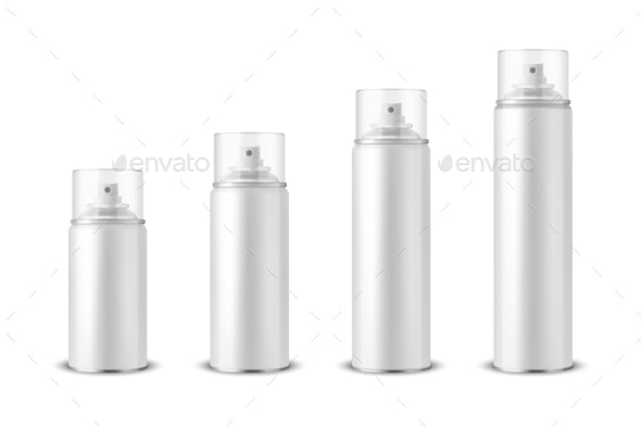 Vector 3d Realistic White Aluminum Blank Spray Can - Man-made Objects Objects