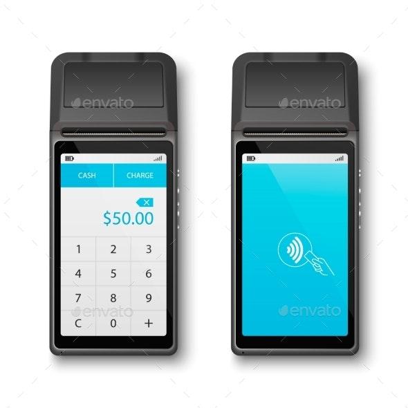 Vector Realistic Black 3d Payment WiFi Machine - Business Conceptual