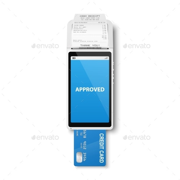 Vector 3d Realistic White Payment Machine - Man-made Objects Objects