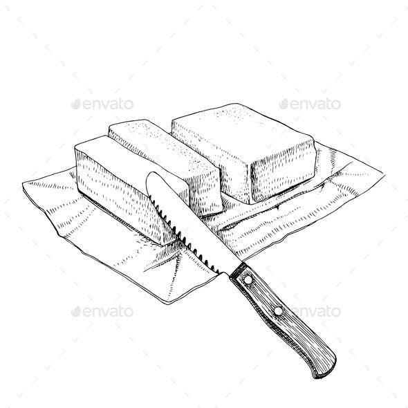 Hand Drawn Sketch Butter with a Knife
