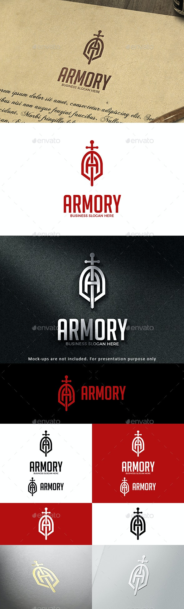 Sword Shield Logo Letter A - Armory - Letters Logo Templates