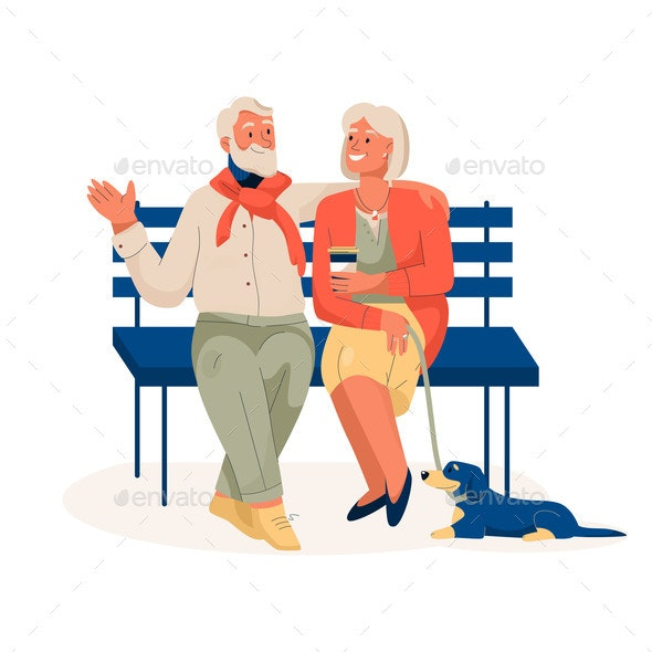 Elderly Couple Sitting on Bench Resting in City - Sports/Activity Conceptual
