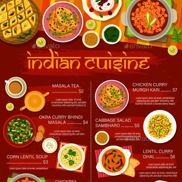 Indian Restaurant Menu Spice Food Curry Dishes