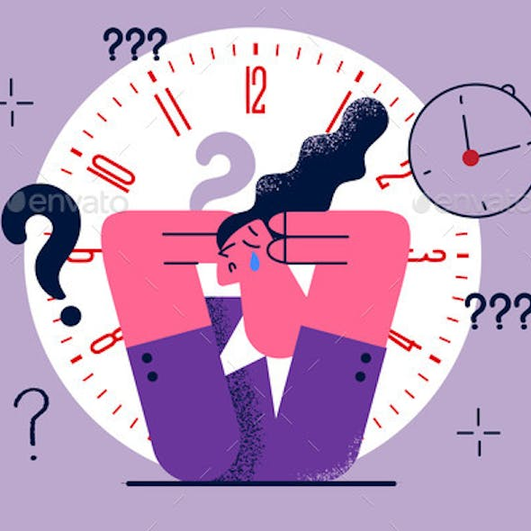 Stress Burnout and Bad Time Management Concept