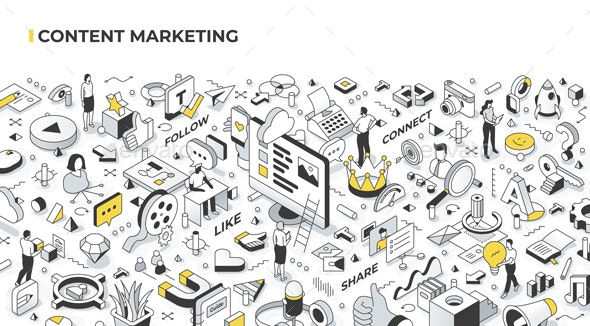 Content Marketing Isometric Illustration - Concepts Business