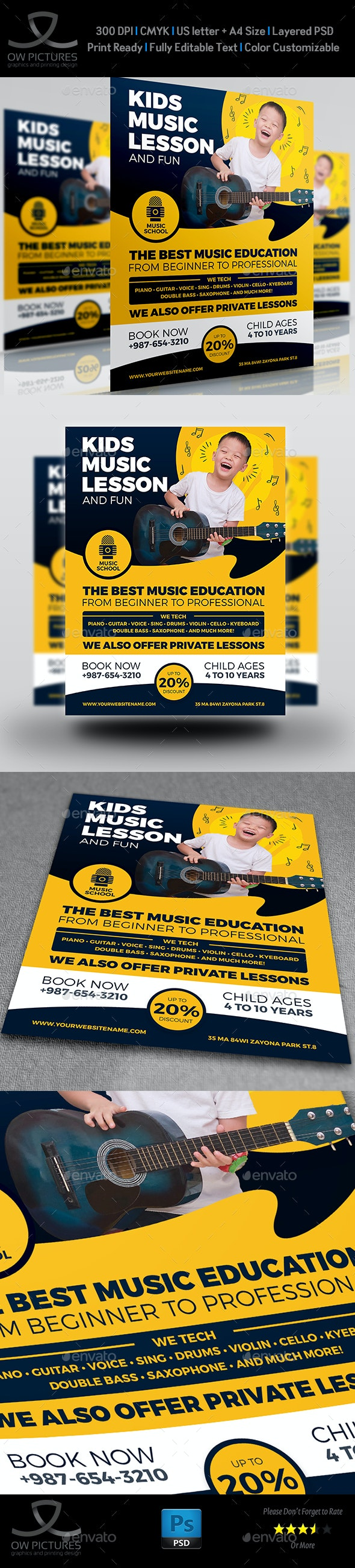 Child Music Lesson Services Flyer Template - Flyers Print Templates
