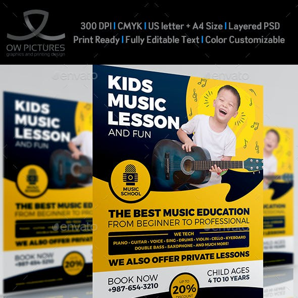 Child Music Lesson Services Flyer Template