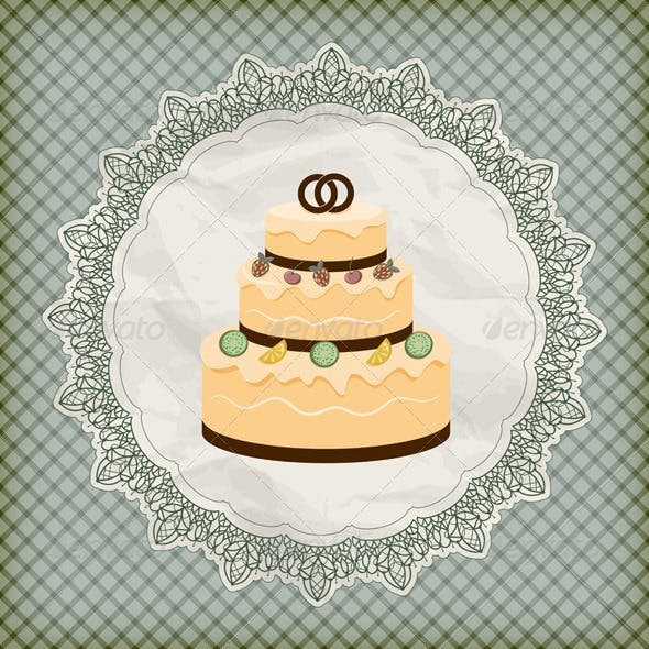 Wedding Cake on Lacy Napkin