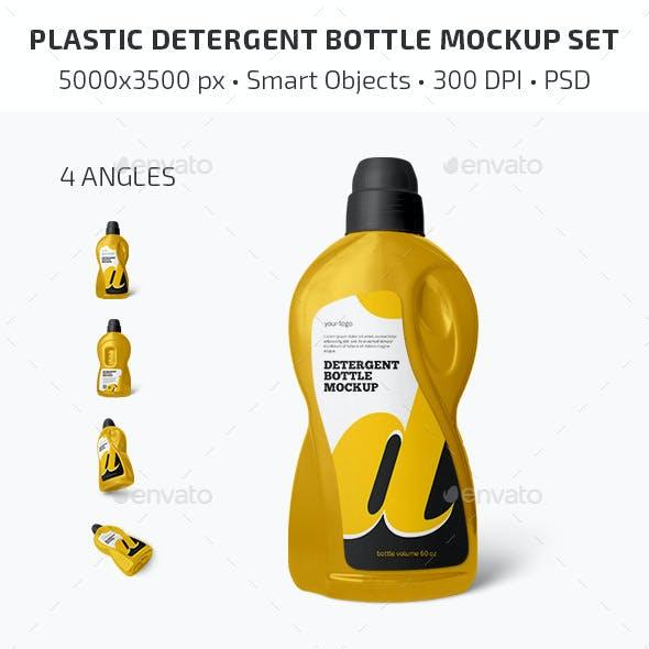 Plastic Detergent Bottle Mockup Set