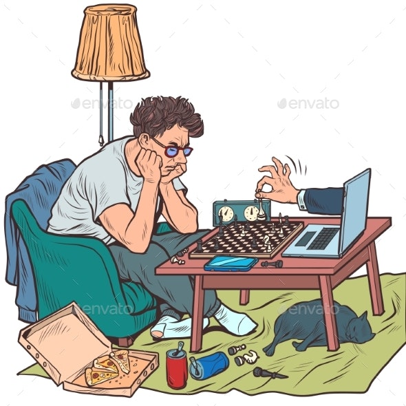 Online Chess Game in the Period of Quarantine and - Sports/Activity Conceptual