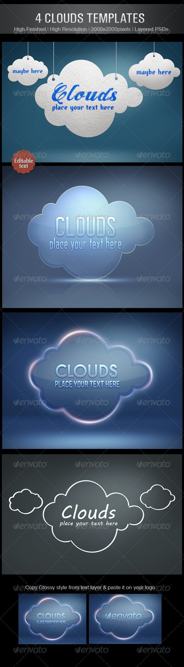 4 Clouds Templates - Nature Backgrounds