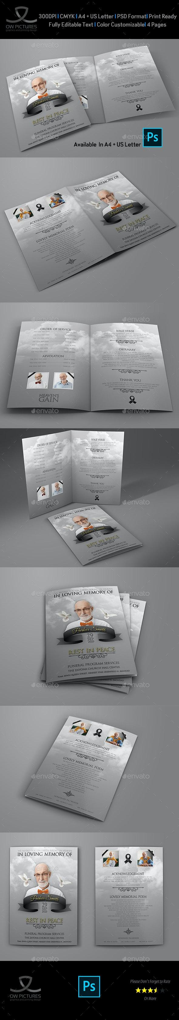 Memorial and Funeral Program Bi Fold Brochure Template - Brochures Print Templates