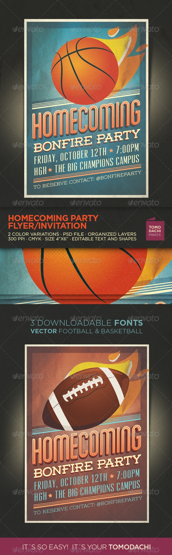 Homecoming Flyer / Invitation - Sports Events