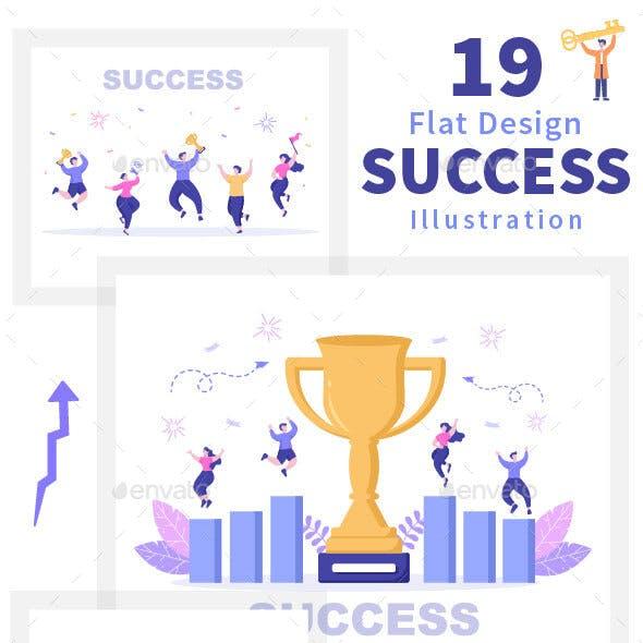 19 Success Flat Design Illustration