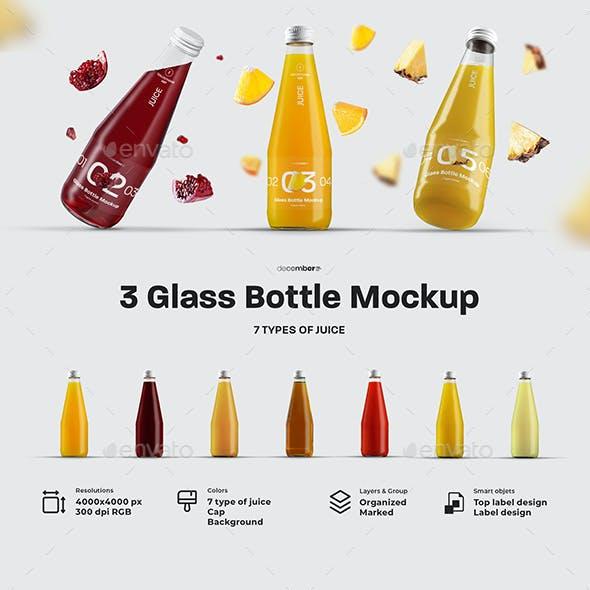 3 Mockup Glass Juice Bottle.   7 Juice Samples