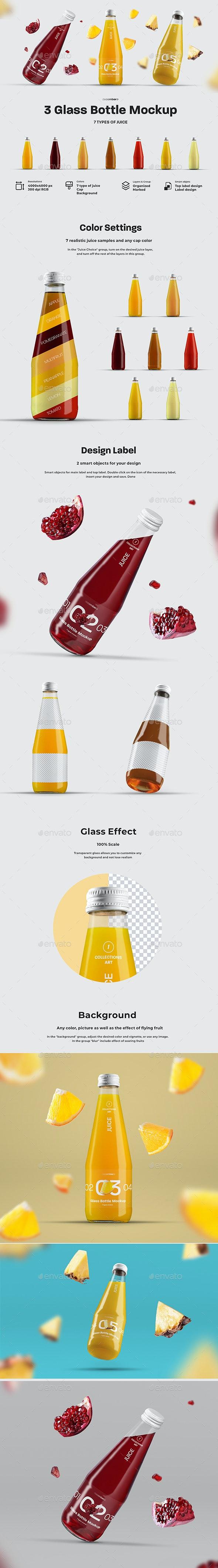 3 Mockup Glass Juice Bottle.   7 Juice Samples - Food and Drink Packaging