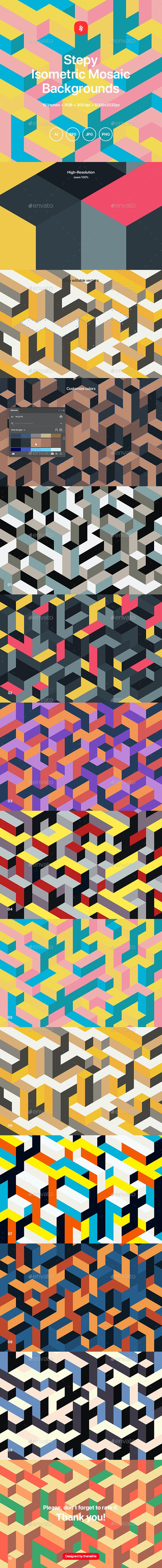 Stepy - Isometric Mosaic Vector Backgrounds - Patterns Backgrounds