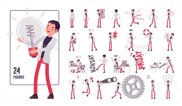 Businessman Smart Male Office Worker Character - Business Conceptual