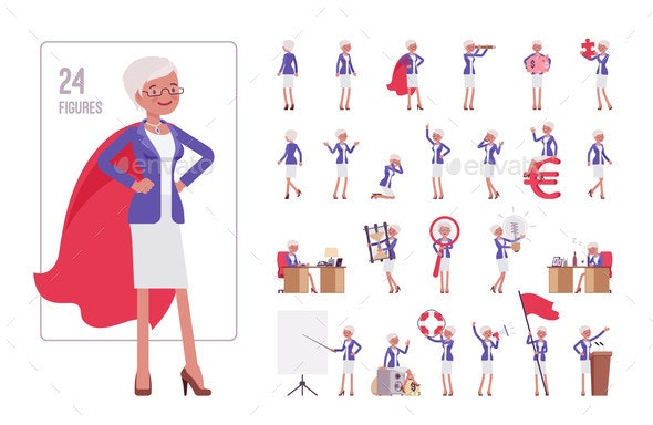 Attractive Old Woman Elderly Businesswoman - Business Conceptual