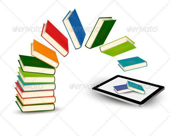 Books flying in a tablet  Vector illustration  - Concepts Business