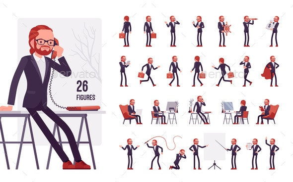 Businessman Young Red Haired Office Worker - Business Conceptual