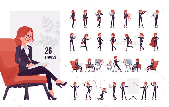 Businesswoman Young Red Haired Office Worker - Business Conceptual