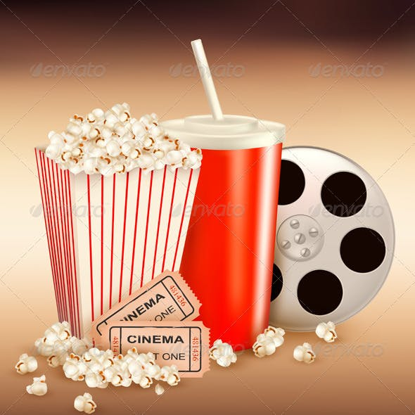 Popcorn and a drink and two tickets  Vector