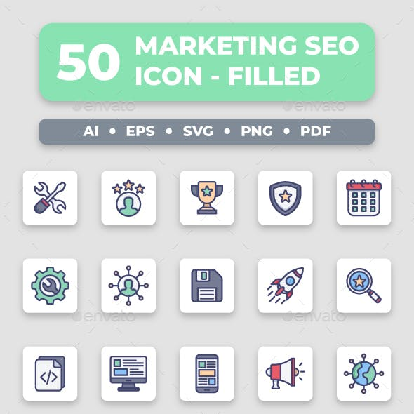 Marketing & SEO - Filled Collection Icon Set