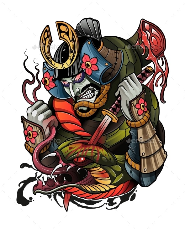 Japanese Samurai Kills a Big Demon Snake - Miscellaneous Vectors