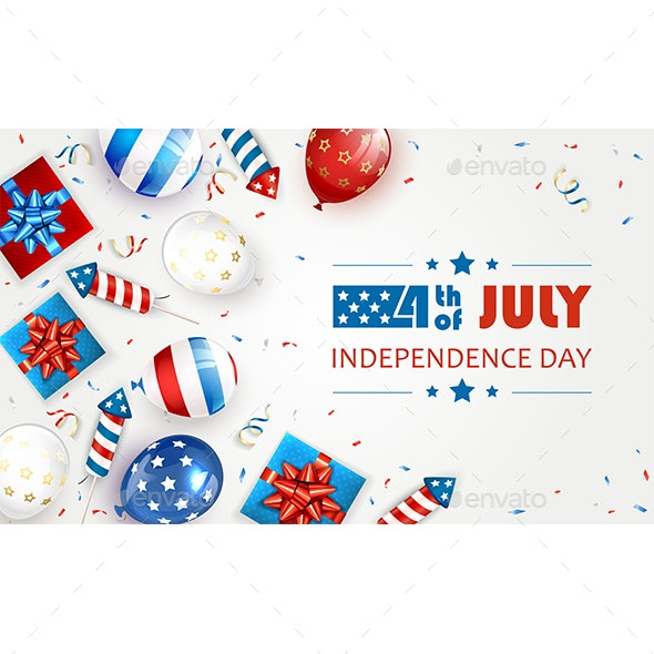 Balloons and Independence Day Fireworks on White - Miscellaneous Seasons/Holidays
