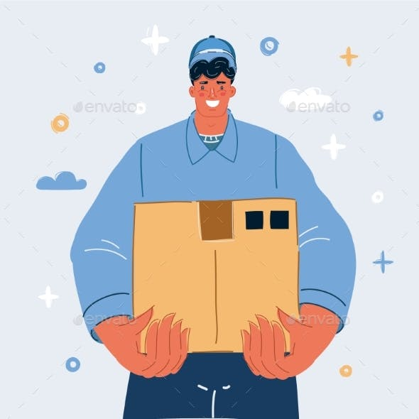 Vector Illustration of Smiling Young Delivery Man