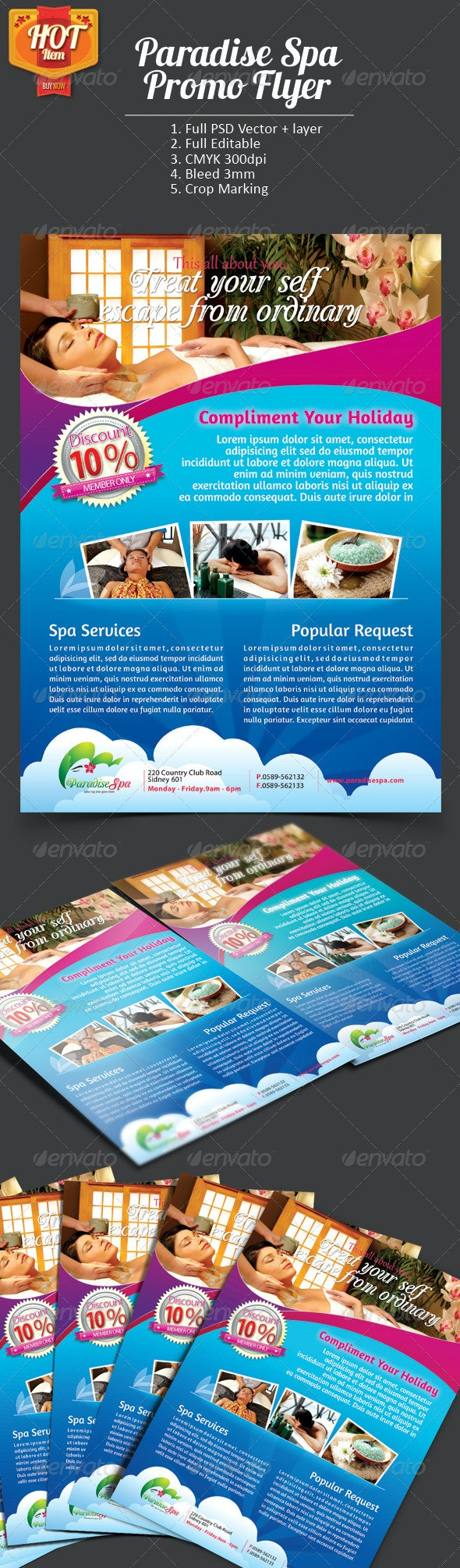 Paradise Spa Promo Flyer - Commerce Flyers