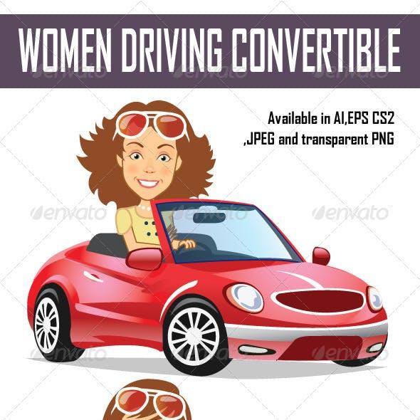 Women Driving Convertible
